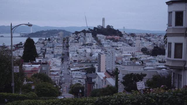 wide shot over san francisco bay - lombard street san francisco stock videos & royalty-free footage