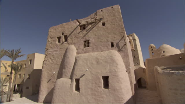 wide shot,  - palm trees wave in the wind next to a sandstone home in egypt - エジプト点の映像素材/bロール