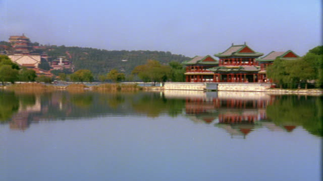 Wide shot pan across lake with traditional buildings at Imperial Summer Palace / Beijing, China