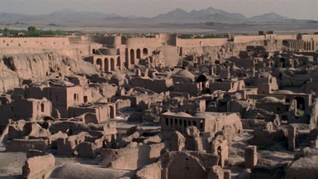 1999 wide shot pan ancient adobe ruins remaining in citadel of bam/ bam, kerman province, iran - iran video stock e b–roll