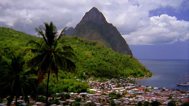 wide shot pan harbor / st lucia - st lucia stock videos & royalty-free footage
