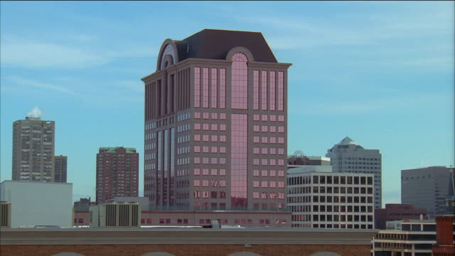 wide shot pan high-rise buildings in milwaukee / wisconsin - 1995 stock videos & royalty-free footage
