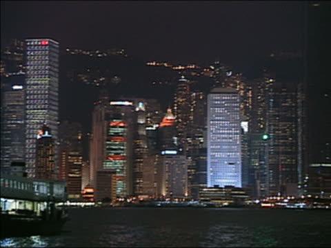 vidéos et rushes de wide shot pan hong kong skyline at night/ hong kong - central district de hong kong