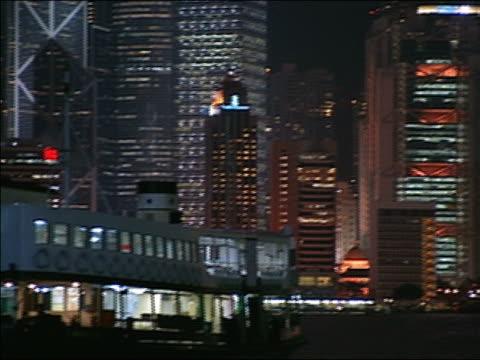 wide shot pan hong kong skyline at night/ hong kong - anno 2002 video stock e b–roll