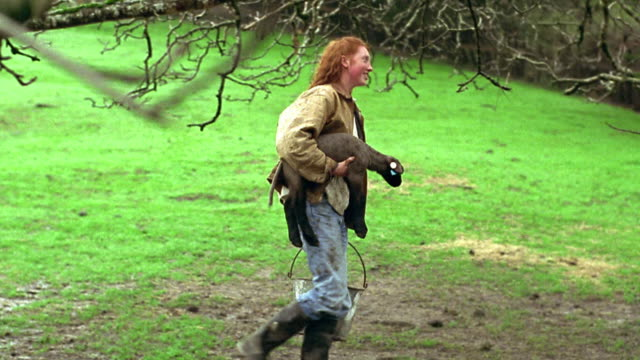 wide shot pan profile red-headed teen girl carrying lamb and pail walking in muddy pasture / california - profile stock videos and b-roll footage