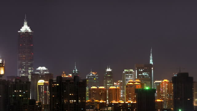 Wide shot pan Shanghai skyline at night / China
