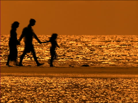 vídeos de stock, filmes e b-roll de wide shot pan silhouettes of girl, man and woman walking on beach + holding hands at dusk / miami, florida - imagem tonalizada