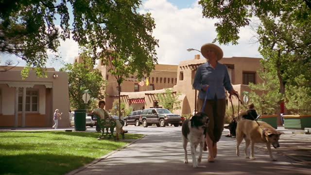 wide shot pan woman walking two dogs through plaza past people sitting on benches / santa fe, new mexico - new mexico stock videos & royalty-free footage