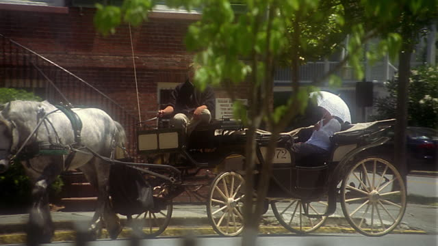 wide shot pan zoom out horse and carriage with female passenger drives past isaiah davenport house / savannah, ga - savannah stock videos and b-roll footage