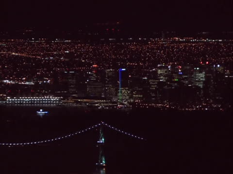 wide shot panorama of vancouver at night. vancouver is a coastal seaport city on the mainland of british columbia, canada. it is the hub of greater... - environment or natural disaster or climate change or earthquake or hurricane or extreme weather or oil spill or volcano or tornado or flooding stock videos & royalty-free footage