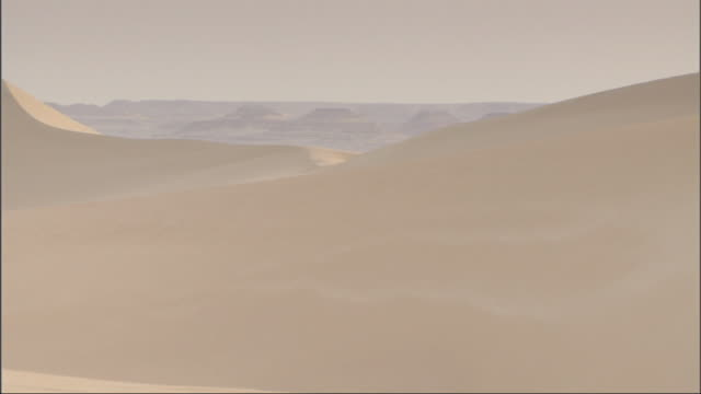 wide shot, pan-right - sand blows off large sand dunes in the sahara desert in egypt - sahara desert stock videos & royalty-free footage