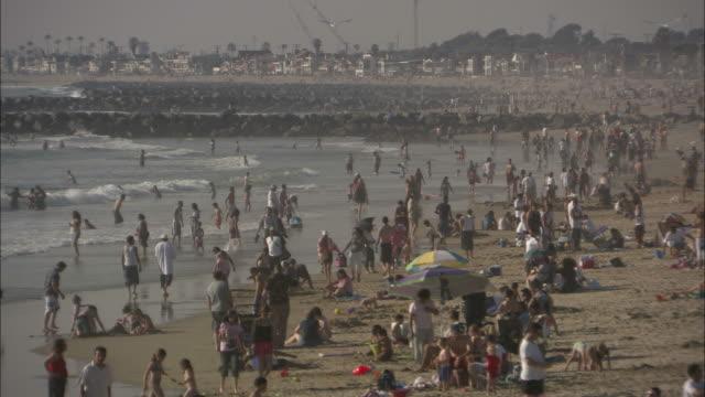 wide shot pan-right tilt-up - families enjoy a southern california beach/venice beach, california, usa - venice beach stock videos & royalty-free footage