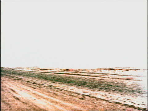 vídeos de stock e filmes b-roll de overexposed fast wide shot pans desert landscape with large dunes in background / namibia, africa - overexposed
