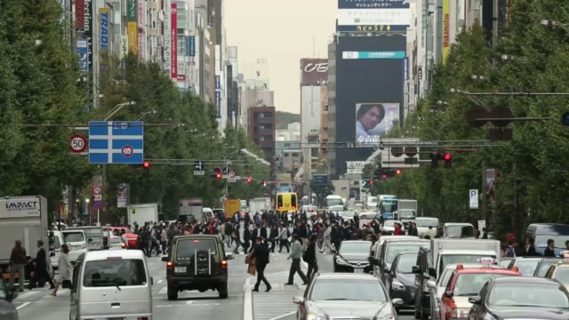 Wide shot pedestrians cross a road as traffic stands at a red light in the Akihabara district in Tokyo Japan on Thursday Nov 14 Pedestrians walk...