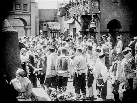 1916 b/w wide shot people in town square - 1916 stock videos & royalty-free footage