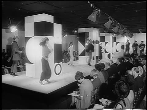 b/w 1966 wide shot people modeling clothing dancing in runway show / london / newsreel - 1966 stock videos & royalty-free footage