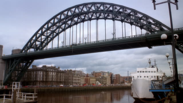 Wide Shot Person Bungee Jumping Off City Bridge England Stock
