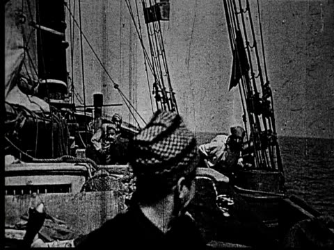 1914 b/w wide shot pirates fighting on deck of sailing ship at sea  - actor stock videos and b-roll footage