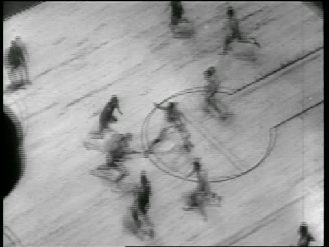 OVERHEAD wide shot players running on court / Toronto Huskies vs NY Knicks game