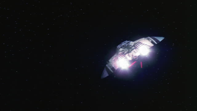 wide shot point of view firing at and hitting spaceship in dogfight in space / hit spaceship exploding - laser stock videos & royalty-free footage