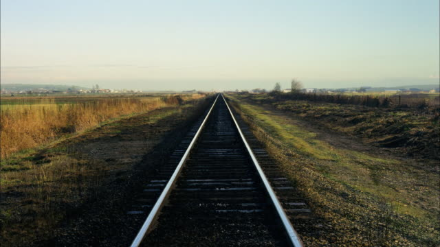 Wide shot railroad tracks to horizon / 2 cycles of changing seasons