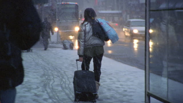 Wide shot rear view of woman carting luggage through snow and other pedestrians on sidewalk / NYC