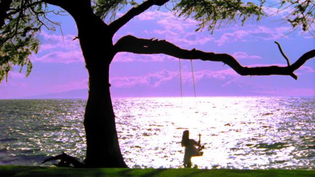 OVEREXPOSED wide shot REAR VIEW silhouette of woman in dress swinging on tree swing / ocean in background / Hawaii