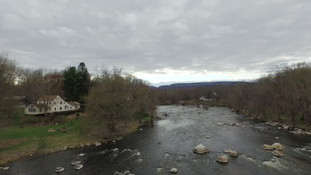 wide shot rising over river in upstate new york - new paltz ny stock videos and b-roll footage