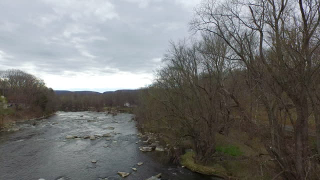 Wide shot rising to bird's eye view over rocky river