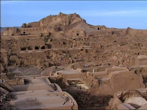 stockvideo's en b-roll-footage met wide shot ruins of buildings after earthquake in bam, iran - 2003