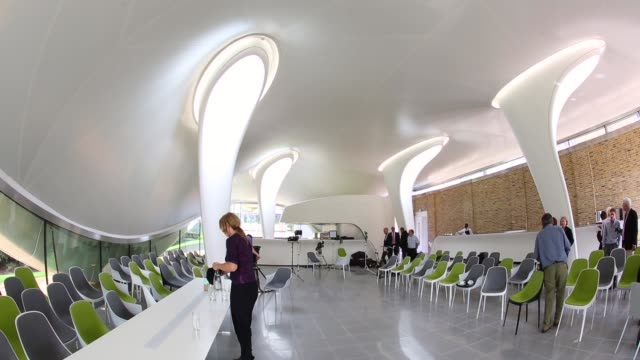 wide shot, serpentine sackler gallery interior. members of the public admire the redeveloped serpentine sackler gallery in hyde park on september 25,... - jeremy paxman stock videos & royalty-free footage