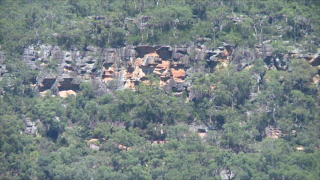 vídeos y material grabado en eventos de stock de wide shot sheer rock face cliff partially covered in bush rugged bush land terrain - bush land