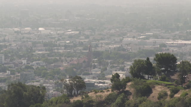 wide shot showing an area of la from a hillside, california, usa. - hill stock videos & royalty-free footage