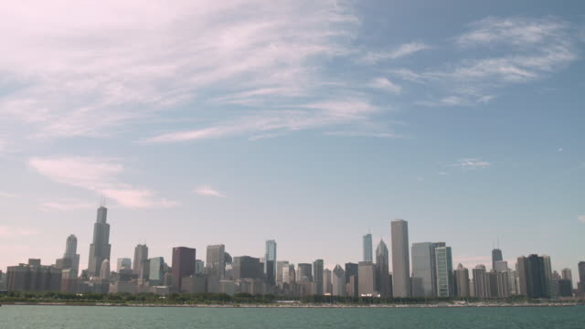 wide shot showing chicago's skyline across lake michigan, illinois, usa. - one prudential plaza stock videos & royalty-free footage