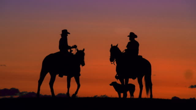 wide shot silhouette cowgirl on horse kissing cowboy on horse with dog nearby at sunset - cowgirl stock videos & royalty-free footage