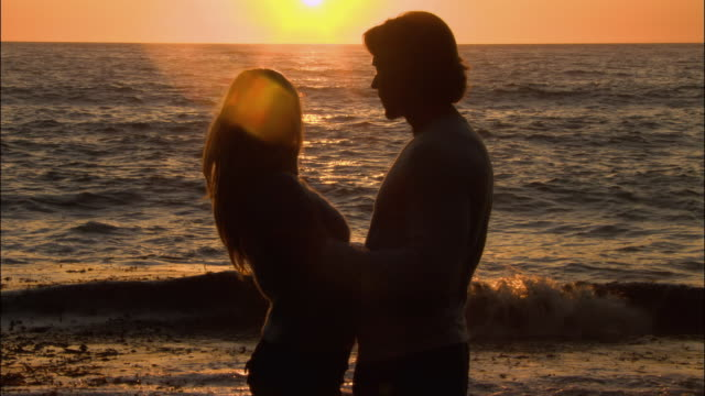 wide shot silhouette of couple kissing on beach at sunset as dog walks around/ monterey county, california - ragged point stock videos and b-roll footage