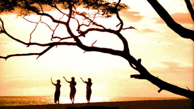 stockvideo's en b-roll-footage met orange wide shot silhouettes of three female hula dancers dancing in unison by tree / ocean in background / hawaii - hawaiiaanse etniciteit