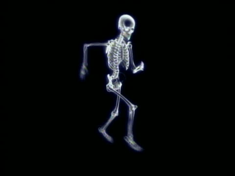 cgi wide shot skeleton running in place with black background - biomedizinische illustration stock-videos und b-roll-filmmaterial