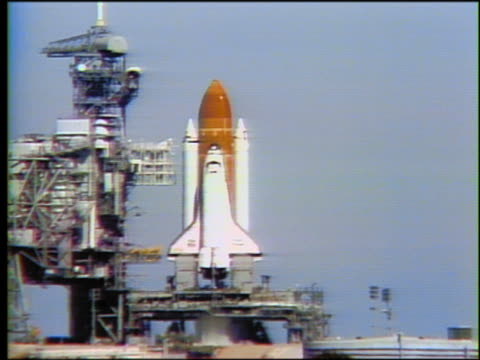 wide shot space shuttle challenger on launch pad / heat waves - 1986 stock videos & royalty-free footage