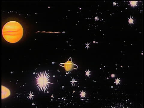 1948 animated wide shot pan spaceship flying through space towards planet labeled 'mars' / zoom in 'mars' - 宇宙探検点の映像素材/bロール