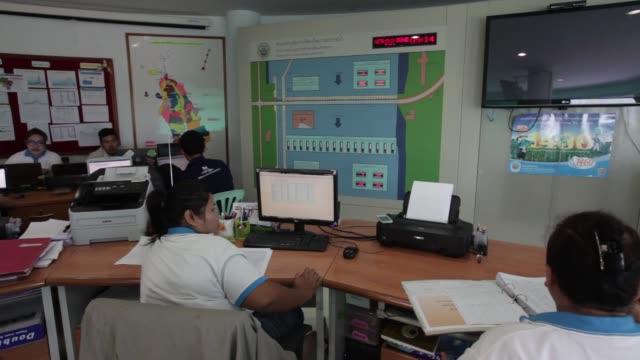 wide shot staff work in the control room of the chao praya dam in subpaya district chainat province thailand medium shot staff work in the control... - チャオプラヤ川点の映像素材/bロール