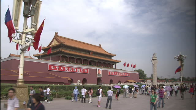 wide shot static - pedestrians walk past the gate of the forbidden city in beijing. - tiananmen square stock videos & royalty-free footage