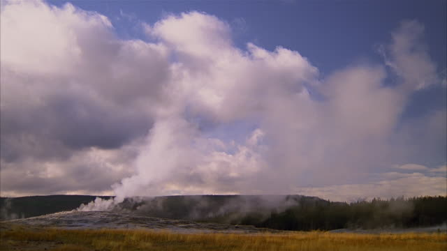 wide shot steam rising from geyser and blowing across field at yellowstone national park / wyoming - naturwunder stock-videos und b-roll-filmmaterial