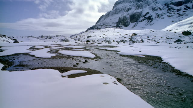 Wide shot stream flowing through snow-covered landscape / Spain