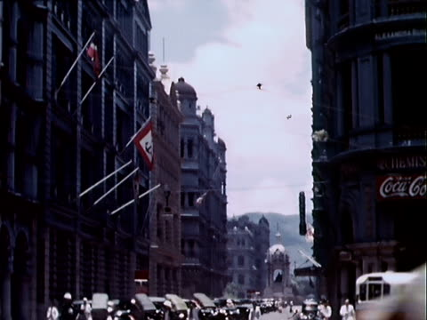1939 wide shot street scene/ hong kong - 1939 stock videos and b-roll footage
