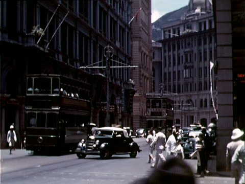1939 wide shot street scene/ hong kong - 1930 1939 video stock e b–roll