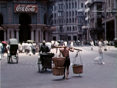 1939 wide shot street scene/ hong kong - 1939 stock videos & royalty-free footage