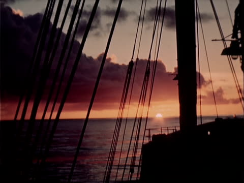 1939 wide shot sunset over pacific ocean from ship - pacific ocean stock videos & royalty-free footage