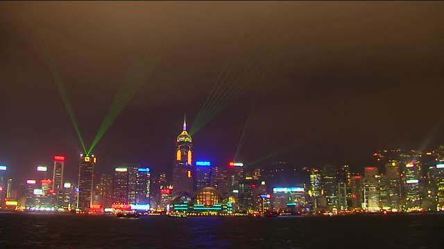 wide shot symphony of lights hong kong kwangtung china - aberdeen hong kong stock videos & royalty-free footage