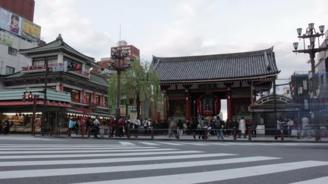 T/L Wide shot Temple Gate Asakusa Tokyo